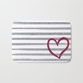Red Heart on Shiny Silver Stripes Bath Mat