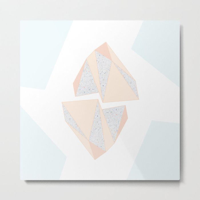 Abstract Iceberg Inspired with Terrazzo Patterns Metal Print