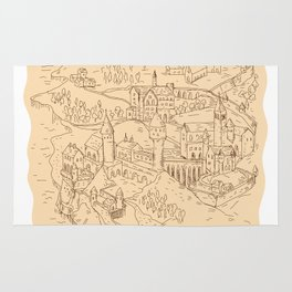Medieval Fantasy Map Drawing Rug
