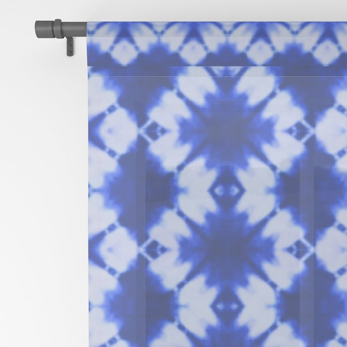 indigo shibori print Sheer Curtain