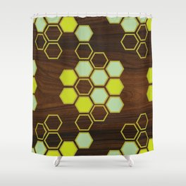 Hex in Green Shower Curtain