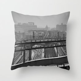 Tales of a Subway Train in Black and White Throw Pillow