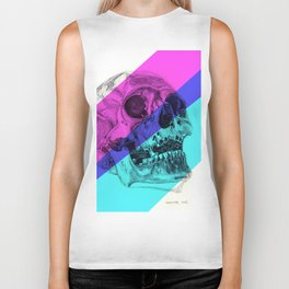 Skull pencil drawing with colour Biker Tank
