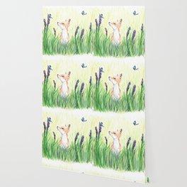 Fox with Butterflies Wallpaper