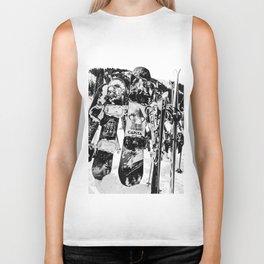 Snowboard Season in Black and White Biker Tank