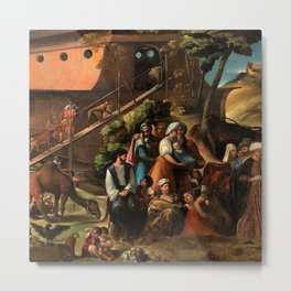 1520 Classical Masterpiece 'Entering into the Ark' by Dosso Dossi Metal Print