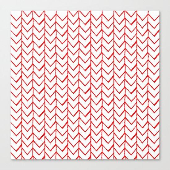 Herringbone Red Canvas Print