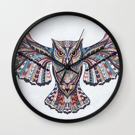 Colorful Ethnic Owl Wall Clock