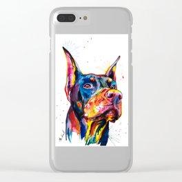 Doberman Illustration Clear iPhone Case