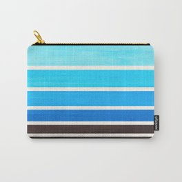 Cerulean Blue Minimalist Watercolor Mid Century Staggered Stripes Rothko Color Block Geometric Art Carry-All Pouch