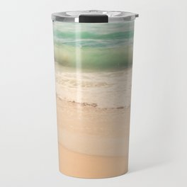 beach. Sea Glass ocean wave photograph. Travel Mug
