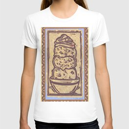 Linocut Ice Cream Sundae T-shirt