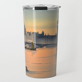 Westminster And Big Ben From The River Thames London Travel Mug