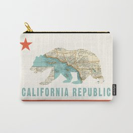 California Bear Flag with Vintage Map Carry-All Pouch