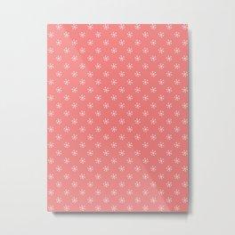 White on Coral Pink Snowflakes Metal Print