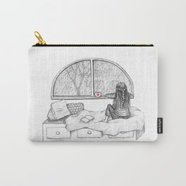 Rainy Day Window pencil illustration Carry-All Pouch