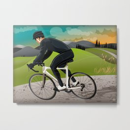 Road Cyclist Metal Print