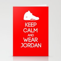 air jordan Stationery Cards featuring Keep calm and wear Air Jordan V by Yellow Dust