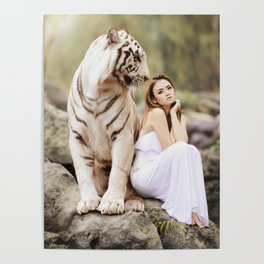 White Tiger from Bengal | Tigre blanc du Bengale Poster