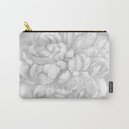 Large Gray on Grey Peony Watercolor Carry-All Pouch