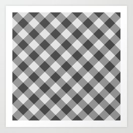 Diagonal buffalo check black Art Print