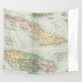 Vintage Map of Cuba and Jamaica (1892)  Wall Tapestry