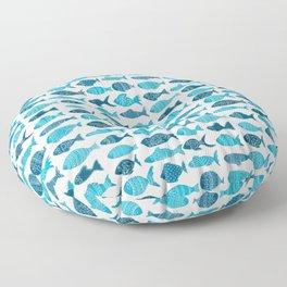 Folk art love / sea ocean fish // calming blue watercolor Floor Pillow