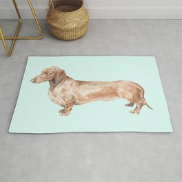 A long dog: Dachshund doxie puppy dog watercolor pet portrait Rug