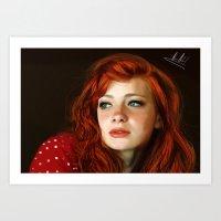 redhead Art Prints featuring RedHead by Allaa Adel