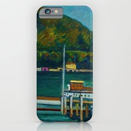 Jetty on Lake Iseo, Lombardy, Italy landsapce painting by Piero Marussig iPhone Case