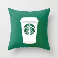 starbucks Throw Pillows featuring starbucks  by Daryl Beaney