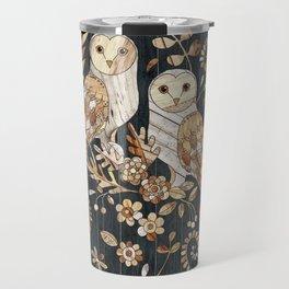 Wooden Wonderland Barn Owl Collage Travel Mug