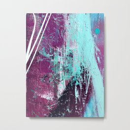 01012: a vibrant abstract piece in teal and ultraviolet Metal Print