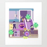 Tiny Worlds - Rocket HQ Art Print