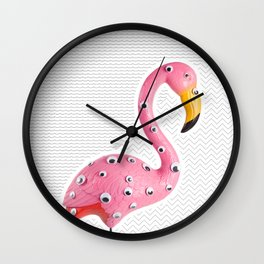Freak flamingo pattern Wall Clock