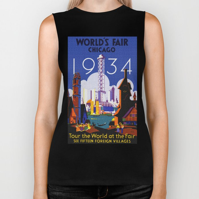 1934 Chicago World's Fair Travel Poster Biker Tank