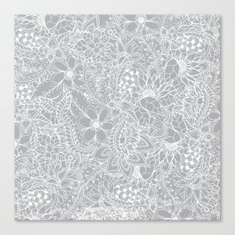 Modern trendy white floral lace hand drawn pattern on harbor mist grey Canvas Print