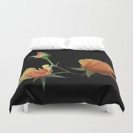 flowers on black - 3 orange rosebuds Duvet Cover