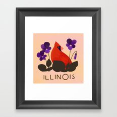 Illinois State Bird and Flower Framed Art Print
