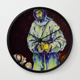 St Francis and Brother Leo Meditating on Death (after El Greco) Wall Clock