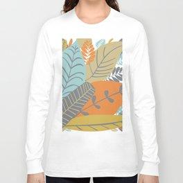 Bright Tropical Leaf Retro Mid Century Modern Long Sleeve T-shirt
