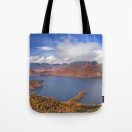 Lake Chuzenji, Japan in autumn from above Tote Bag