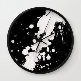 Ink splats black Wall Clock