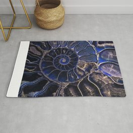 Earth Treasures - Ammonite in blue tones Rug