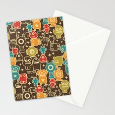 Robots on brown. Stationery Cards