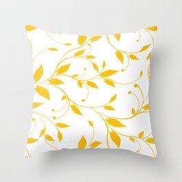 FLOWERY VINES | white yellow Throw Pillow