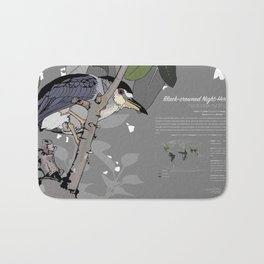 Black-crowned Night-Heron Infographic Bath Mat