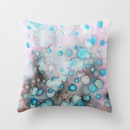 Underwater world. Abstract alcohol ink Throw Pillow