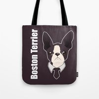 boston terrier Tote Bags featuring Boston Terrier by brit eddy