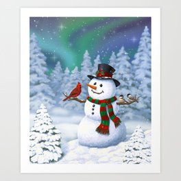 Cute Happy Christmas Snowman with Birds Art Print